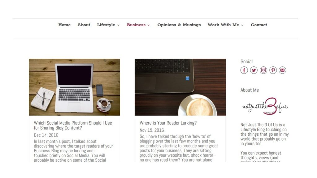 Business Page screen grab