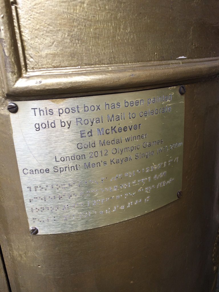 Gold Olympic Postbox